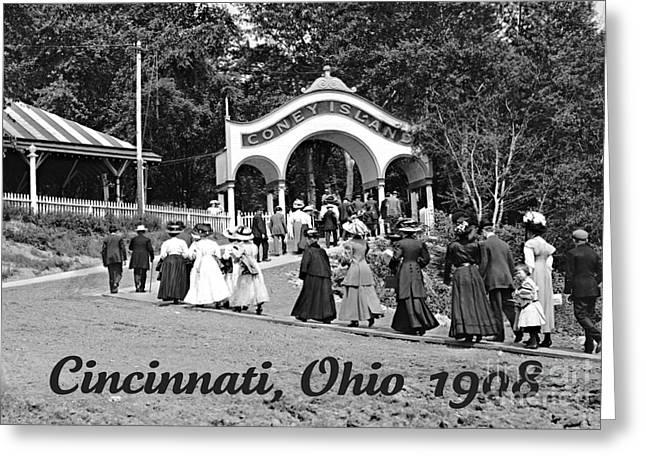 Padre Art Greeting Cards - Coney Island in Cincinnati 1908 Greeting Card by Padre Art