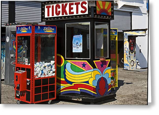 Ticket Booth Greeting Cards - Coney Island Memories 3 Greeting Card by Madeline Ellis