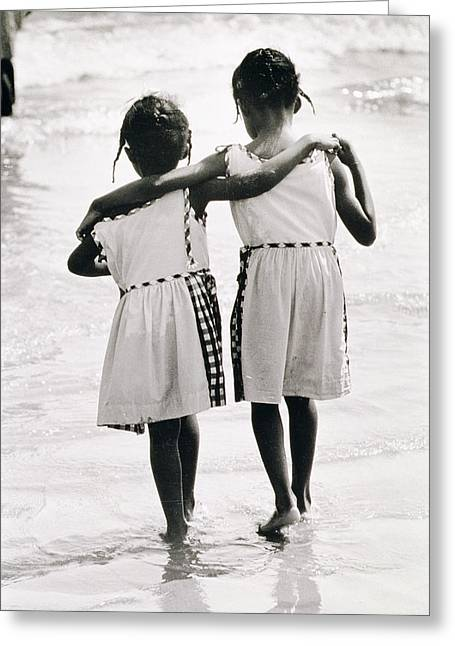 York Beach Greeting Cards - Coney Island Sisters Greeting Card by Nat Herz