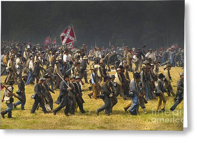 Recently Sold -  - Confederate Flag Greeting Cards - Confederate Charge at Gettysburg Greeting Card by Paul W Faust -  Impressions of Light