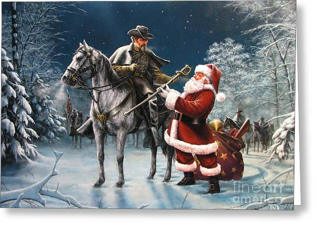 Civil War History Greeting Cards - Confederate Christmas Greeting Card by Dan  Nance