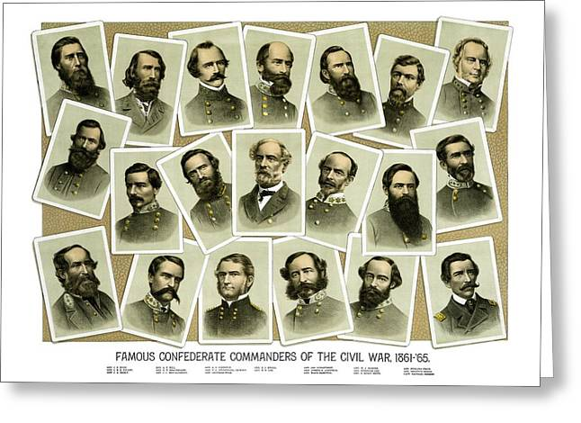 Civil War History Greeting Cards - Confederate Commanders of The Civil War Greeting Card by War Is Hell Store