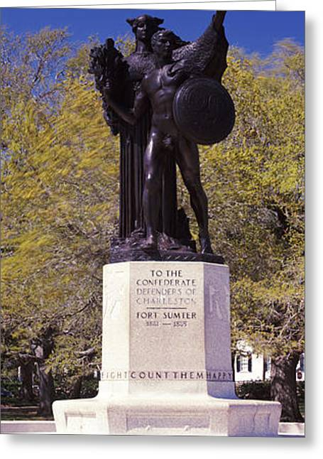 Confederate Monument Greeting Cards - Confederate Defenders Statue In A Park Greeting Card by Panoramic Images
