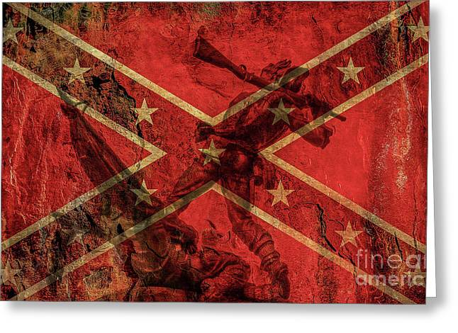 Confederate Flag And Mississippi Monument Greeting Card by Randy Steele