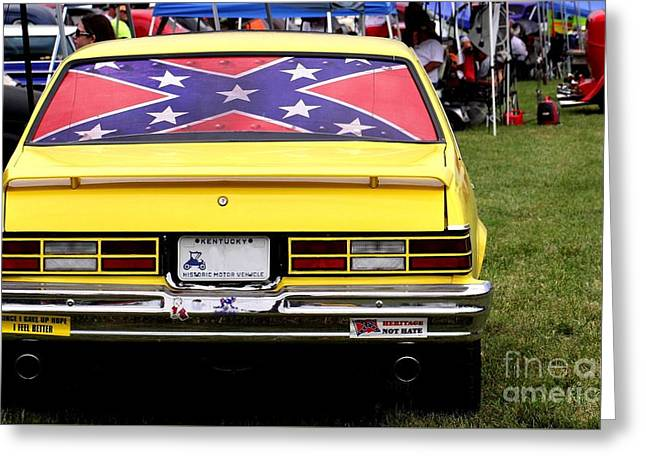 Confederate Flag Greeting Cards - Confederate Flag Classic Car  Greeting Card by P Jeff Smith