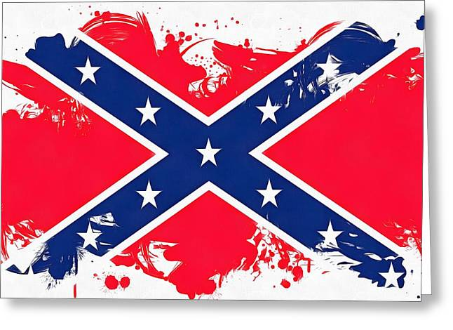 Confederate Greeting Cards - Confederate Flag Paint Splatter Greeting Card by Dan Sproul