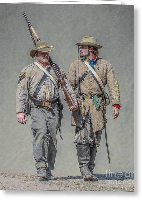 Confederate Digital Art Greeting Cards - Confederate Soldier and Officer Greeting Card by Randy Steele