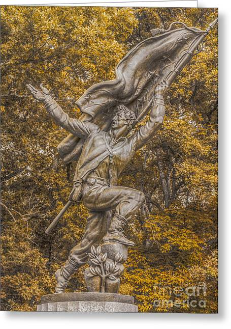 Statue Of Confederate Soldier Greeting Cards - Confederate Soldiers and Sailors Monument Gettysburg Ver 2 Greeting Card by Randy Steele