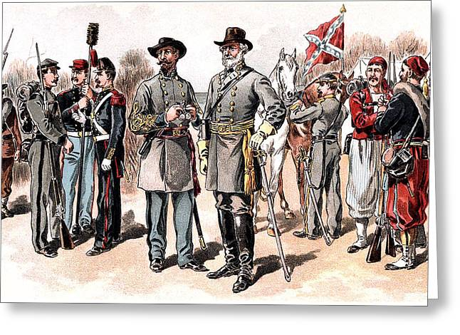 Bayonet Greeting Cards - Confederate Uniforms 1888 Drawing Greeting Card by Phil Cardamone