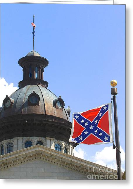 Confederate Flag Greeting Cards - Confederate Flag on State House Grounds Greeting Card by Joseph C Hinson Photography