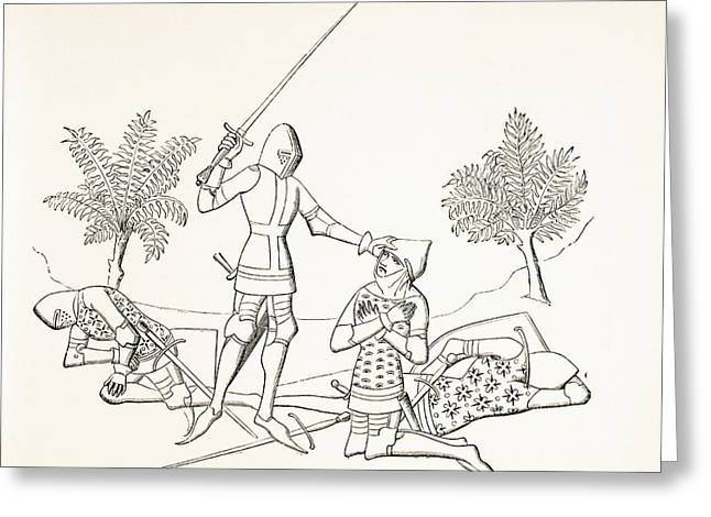Knighthood Drawings Greeting Cards - Conferring Knighthood On The Field Of Greeting Card by Ken Welsh