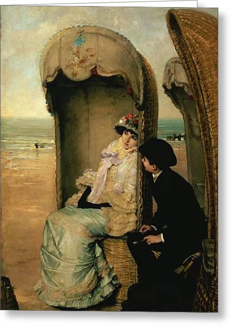 On The Beach Greeting Cards - Confidences on the Beach Greeting Card by Vincente Gonzalez Palmaroli