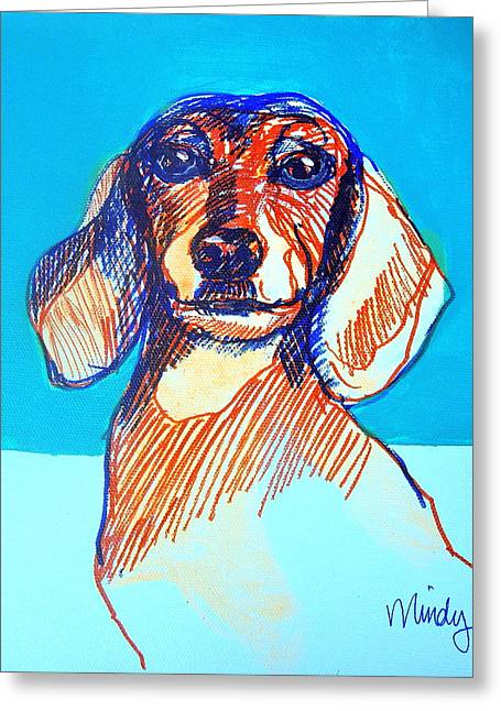 Confident Dachsund Greeting Card by Melinda Page