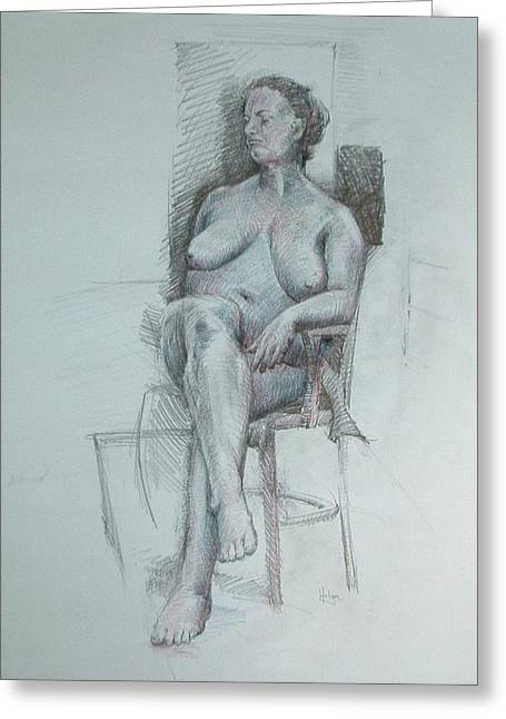 Inner World Drawings Greeting Cards - Confident Nude Greeting Card by Mark Johnson