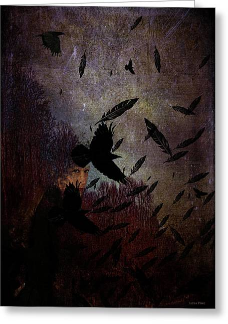 Conflict Of The Crows Greeting Card by Lesa Fine