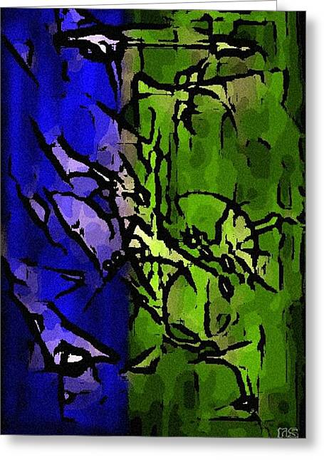 Abstract Digital Mixed Media Greeting Cards - Conflict Greeting Card by Riyaz Syed