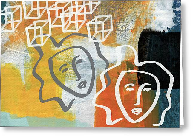 Conflicting Emotions Greeting Card by Linda Woods