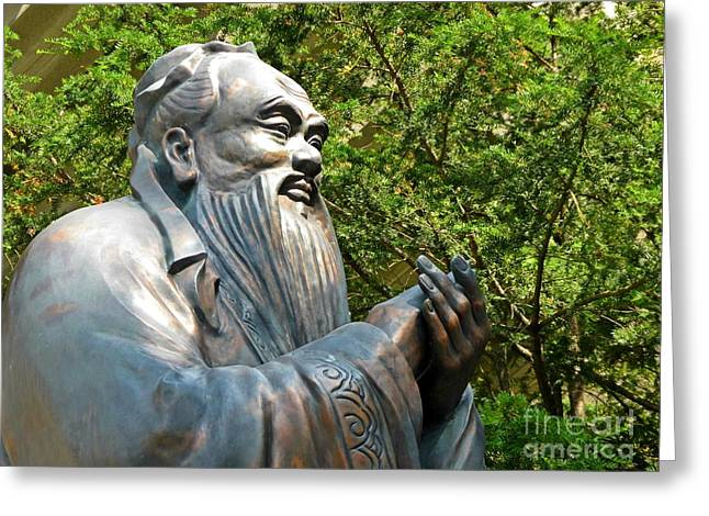 Statue Portrait Greeting Cards - Confucius Clapping Greeting Card by John Malone
