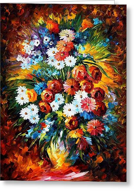 Yelllow Greeting Cards - Congradulation Greeting Card by Leonid Afremov