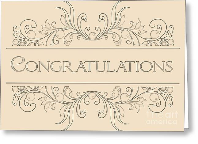 Wife Greeting Cards - Congratulations Engraved Deco Greeting Card by JH Designs