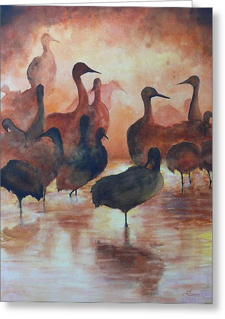 Sandhill Cranes Paintings Greeting Cards - Congregation Greeting Card by Dee Carpenter