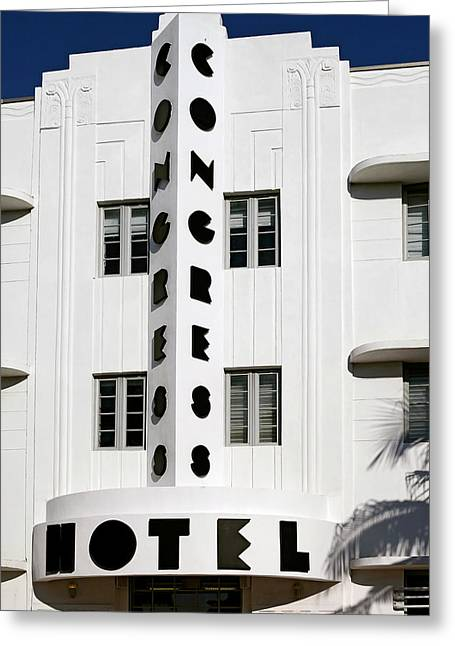 South Congress Greeting Cards - Congress Hotel. Miami. FL. USA Greeting Card by Juan Carlos Ferro Duque