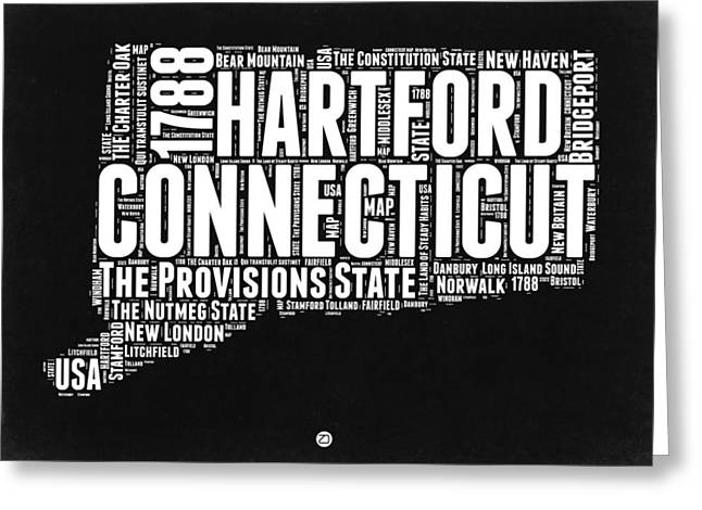 Connecticut Greeting Cards - Connecticut Black and White Word Cloud Map Greeting Card by Naxart Studio