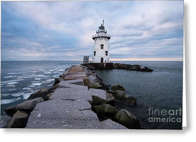 New England Ocean Greeting Cards - Connecticut Lighthouse - Twilight Upon the Granite Path Greeting Card by JG Coleman