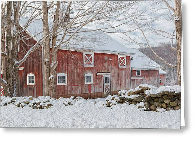 Winter Scenes Rural Scenes Greeting Cards - Connecticut Red and White Greeting Card by Bill Wakeley