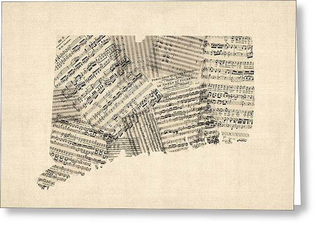 Connecticut Greeting Cards - Connecticut Sheet Music Map Greeting Card by Michael Tompsett