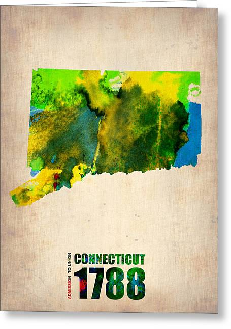 Homes Greeting Cards - Connecticut Watercolor Map Greeting Card by Naxart Studio