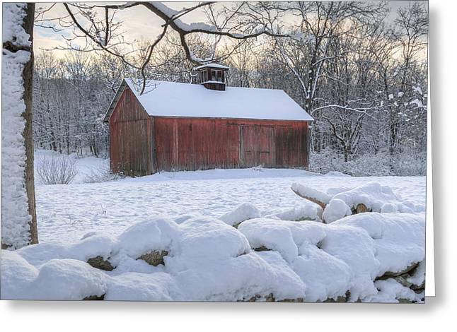 Barn In Snow Greeting Cards - Connecticut Winter Barns Greeting Card by Bill Wakeley