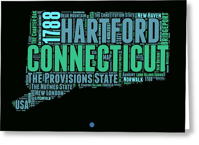 Connecticut Greeting Cards - Connecticut Word Cloud Map 1 Greeting Card by Naxart Studio