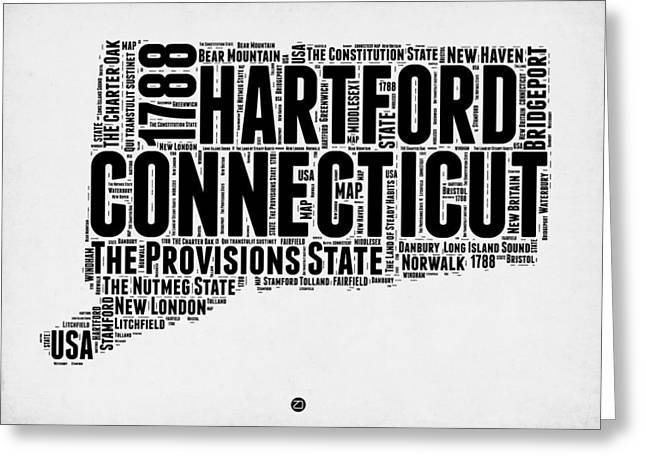 Connecticut Greeting Cards - Connecticut Word Cloud Map 2 Greeting Card by Naxart Studio