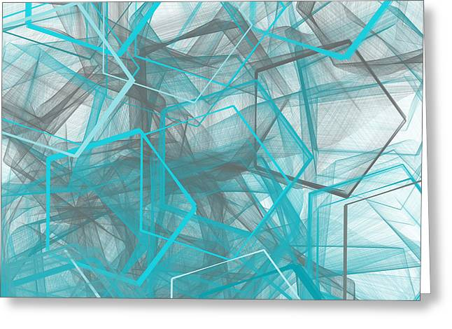 Blue Abstracts Greeting Cards - Connecting Angles Greeting Card by Lourry Legarde