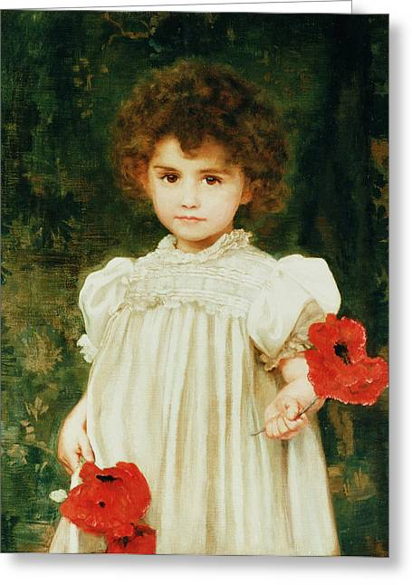 Red Petals Greeting Cards - Connie Greeting Card by William Clark Wontner