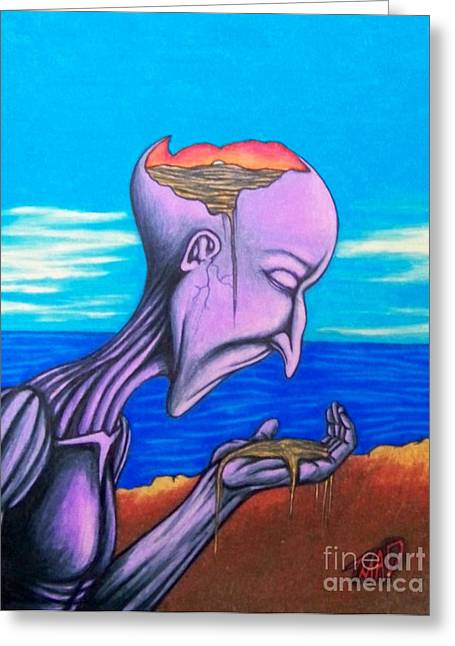 Psycho Drawings Greeting Cards - Conscious Thought Greeting Card by Michael  TMAD Finney