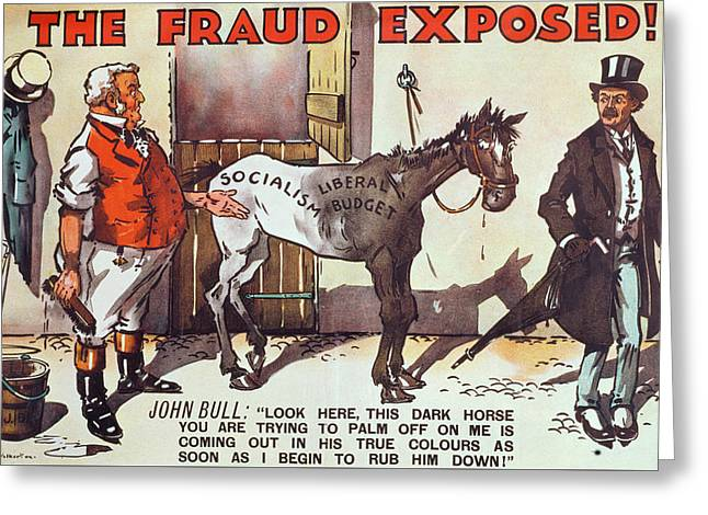 Conservative Poster Against Old Age Pensions Greeting Card by Jack Walker