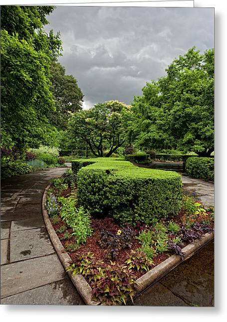 Storm Clouds Pastels Greeting Cards - Conservatory Garden Before the Storm 2 Greeting Card by Robert Ullmann