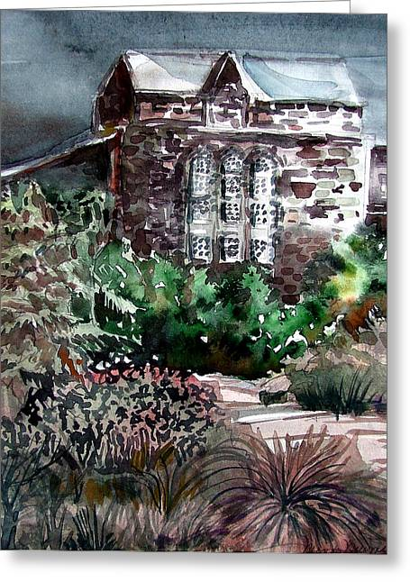 Historic Architecture Mixed Media Greeting Cards - Conservatory Gardens in Scotland Greeting Card by Mindy Newman