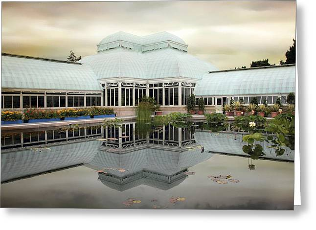 Buildings Greeting Cards - Conservatory Reflections Greeting Card by Jessica Jenney
