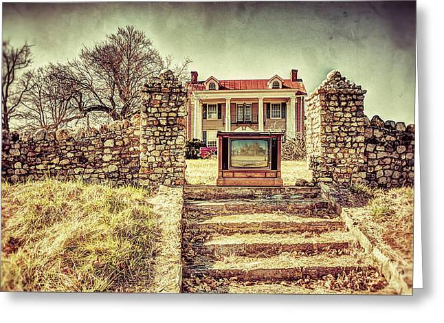 Stepping Stones Greeting Cards - Console TV outside house Greeting Card by William Krumpelman