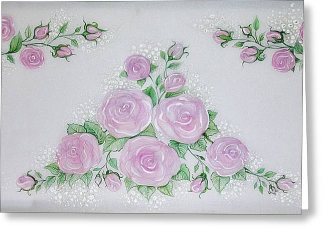 Roses Tapestries - Textiles Greeting Cards - Constance roses Greeting Card by Joanna Aleksandrova