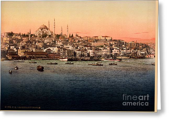 Istanbul Mixed Media Greeting Cards - Constantinople Greeting Card by Celestial Images