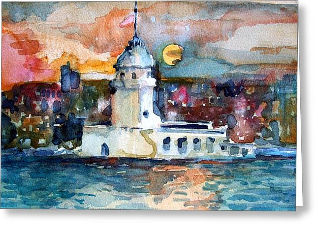 Harem Drawings Greeting Cards - Constantinople Turkey Greeting Card by Mindy Newman