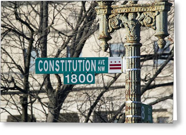 Constitutions Greeting Cards - Constitution Avenue Street Sign Greeting Card by Brendan Reals