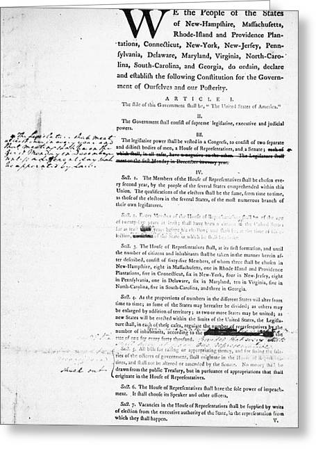 President Prints Greeting Cards - Constitution: Draft, 1787 Greeting Card by Granger