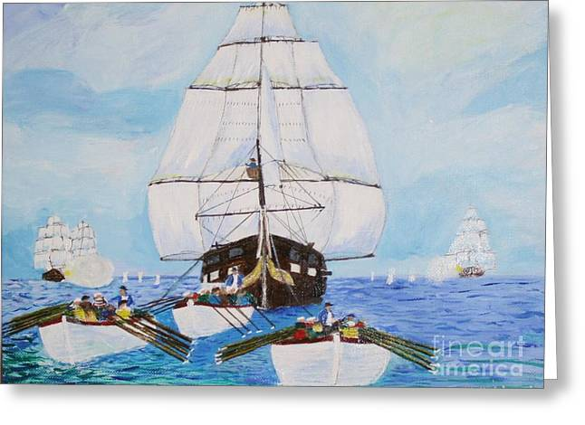 Maine Coast Drawings Greeting Cards - Constitution Eluding British Fleet March 1812 Greeting Card by Bill Hubbard