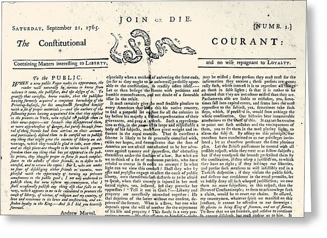 Join Or Die Greeting Cards - Constitutional Courant Greeting Card by Granger