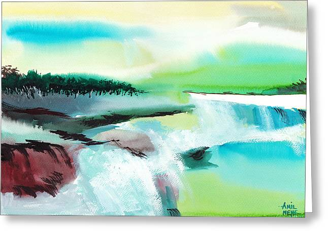 Abstract Beach Landscape Greeting Cards - Constructing Reality 1 Greeting Card by Anil Nene